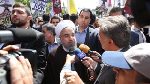 حسن روحانی، رییس جمهوری اسلامی در مراسم راهپیمایی روز قدس .