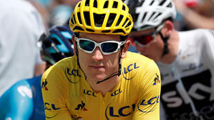 Cycling - Tour de France - the 65-km Stage 17 from Bagneres-de-Luchon to Saint-Lary-Soulan Col du Portet - July 25, 2018 - Team Sky rider Geraint Thomas of Britain, wearing the overall leader's yellow jersey, before the start.