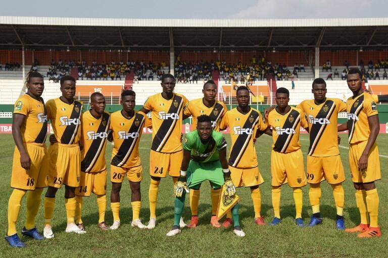 Le 11 de l'Asec d'Abidjan pose avant le début de la rencontre face à Mamelodi Sundowns le 12 février 2019.