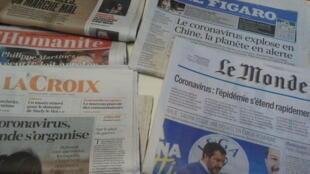 Primeiras páginas dos jornais franceses de 27 de janeiro de 2020