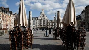 Chairs outside a restaurant in the Grande Place in Lille, 11 May 2020.