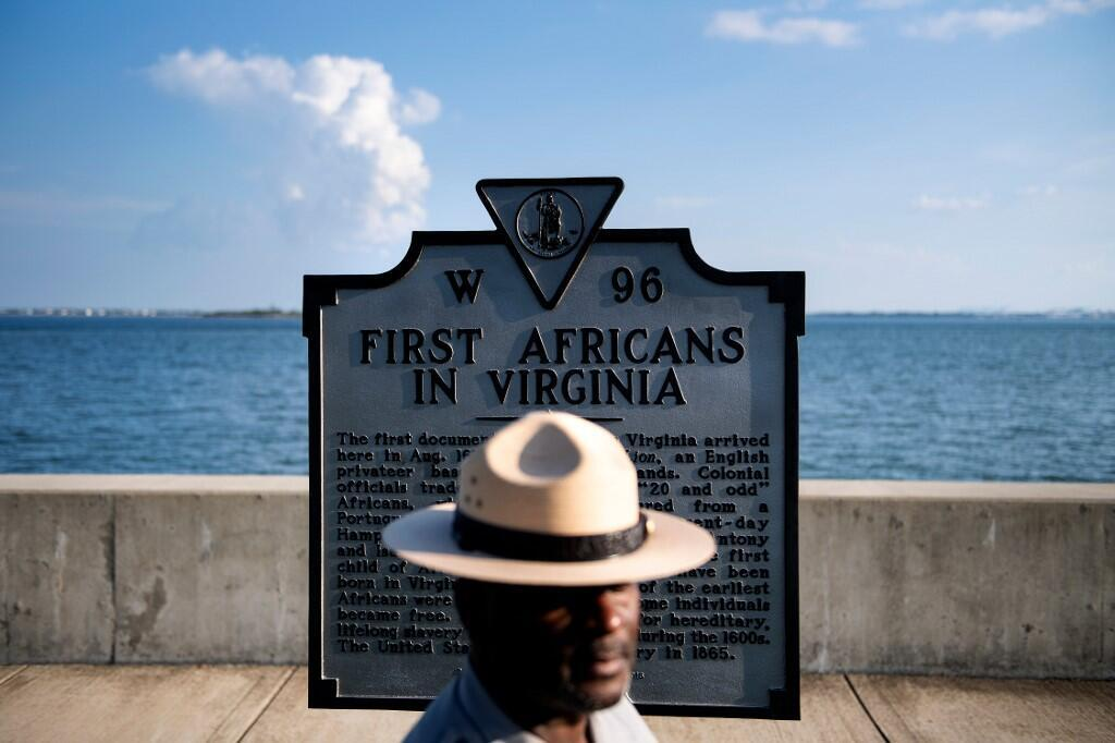A historical marker in Hampton, Virginia, US. The nearby town of Jamestown was where Angela, one of the first known slaves to arrive from Africa, landed 400 years ago.