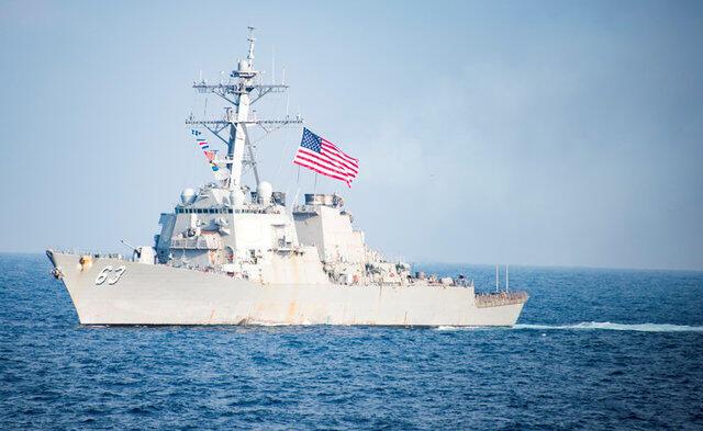 Chiến hạm Mỹ USS Stethem tại vùng biển phía đông bán đảo Triều Tiên, ngày 22/03/2017.