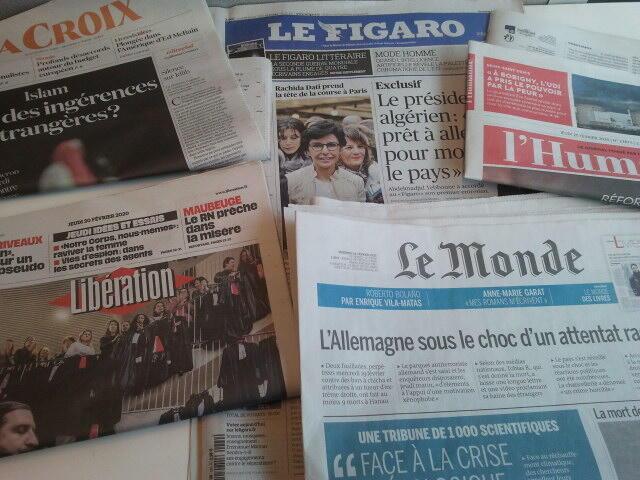 Primeiras páginas dos jornais franceses 20 de fevereiro de 2020