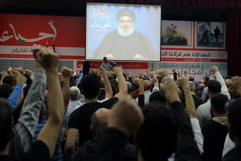 Hassan Nasrallah, lãnh đạo Hezbollah Liban, phát biểu trên truyền hình Liban, ngày 10/11/2017.
