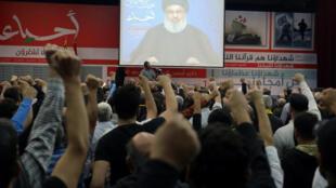 Hassan Nasrallah, le chef du Hezbollah libanais, s'est exprimé à la télévision libanaise, le 10 novembre 2017.