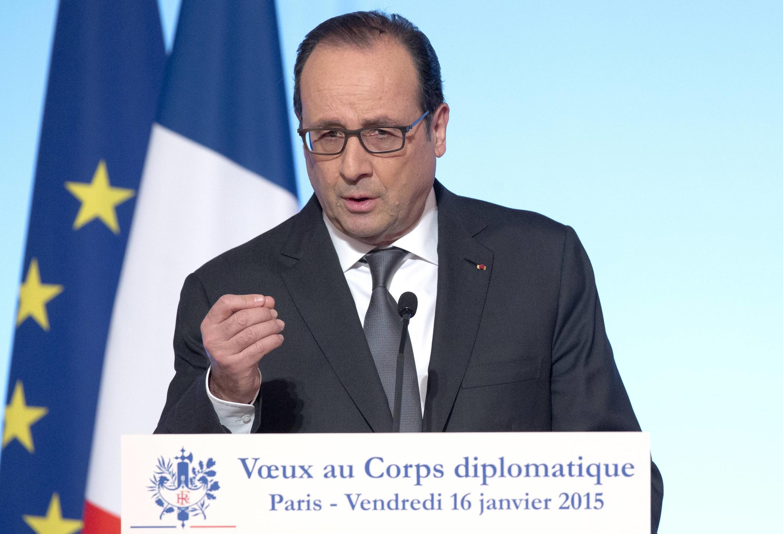 François Hollande addressing the diplomatic service, le 16 janvier 2015.