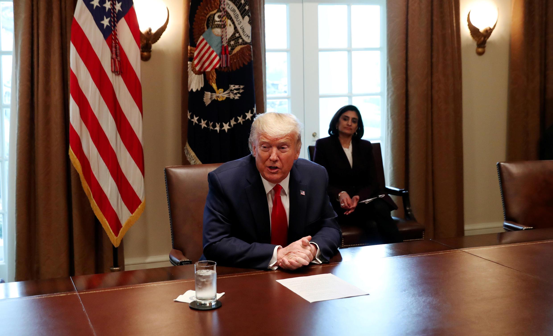 Tổng thống Mỹ Donald Trump phát biểu trong một cuộc họp đối phó với virus corona, Nhà Trắng, Washington, ngày 18/03/2020.