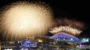 Fireworks over the Olympic Park during the opening ceremony of the Sochi 2014 Winter Olympics