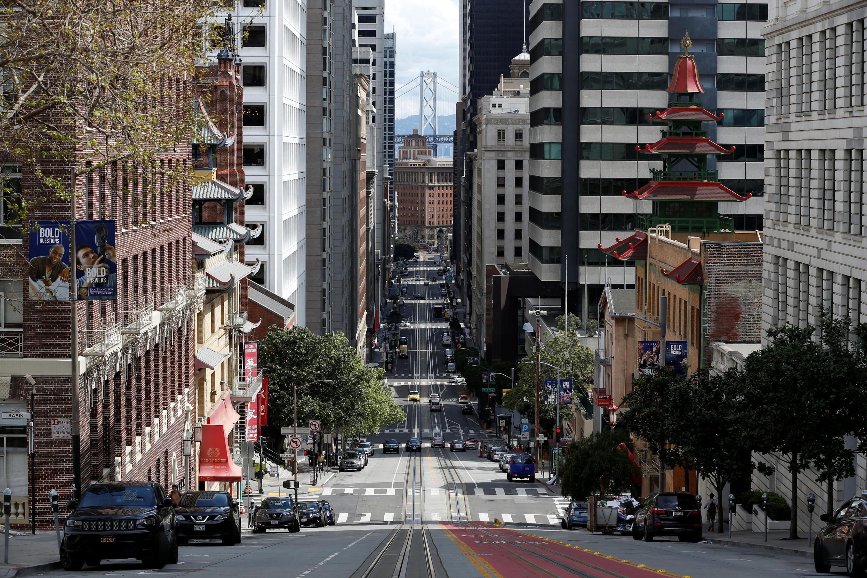Near empty streets of San Francisco, due to coronavirus fears