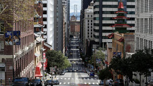 Near empty streets of San Francisco, due to coronavirus fears