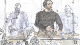 """Un croquis de la cour réalisé le 25 juin 2020 au palais de justice de Paris montre le jihadiste français également appelé """"l'émir"""" de l'État islamique Tyler Vilus s'exprimant lors de l'ouverture de son procès."""
