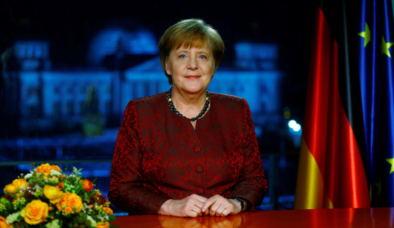德國總理默克爾在總理府進行年度新年演講電視錄製 2017年12月30日