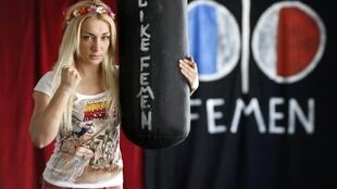 Ukrainian activist Inna Shevchenko, leader of the women's rights group Femen poses at their 'training camp' at the Lavoir Moderne Parisen in Paris