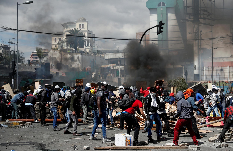 En Quito tuvieron lugar manifestaciones violentas el sábado 12 de octubre 2019.
