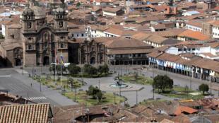 Une vue générale du centre de Cuzco, vide de touristes, le 24 juin 2020.