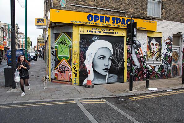 Une rue du quartier très branché de Shoreditch, à l'Est de Londres, aussi connu sous le nom de « Ministère des start-up »