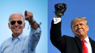 2020 美国大选两位主要候选人,拜登(左)特朗普(右)