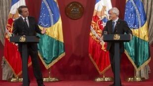 Coletiva de imprensa dos presidentes brasileiro, Jair Bolsonaro, e chileno, Sebastián Piñera, neste sábado, 23 de março de 2019, em Santiago do Chile.