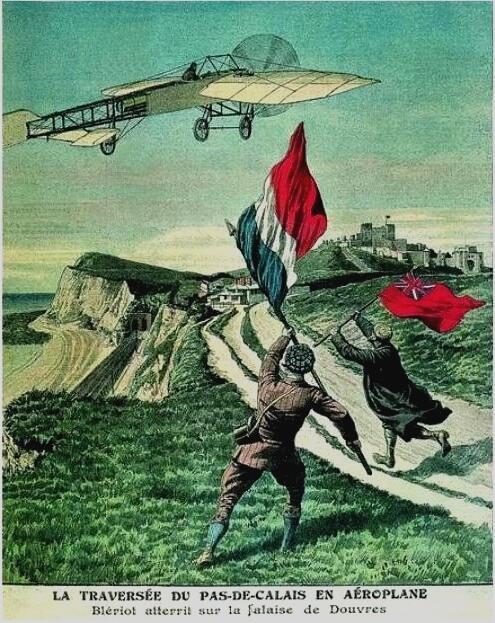 Памятный плакат 1909 г., выпущенный по случаю исторического перелёта Блерио через Ла-Манш