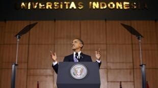 Le président américain Barack Obama lors de son discours à l'université d'Indonésie à Djakarta, le 10 novembre 2010.