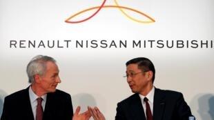 O presidente da Renault, Jean-Dominique Senard, e o CEO da Nissan, Hiroto Saikawa, participam de uma conferência de imprensa conjunta dos chefes da Renault, Nissan e Mitsubishi em Yokohama, Japão. 12/05/19