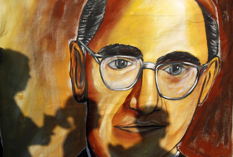 Dibujo del arzobispo salvadoreño, Oscar Arnulfo Romero, asesinado el 24 de marzo de 1980 en el Salvador.