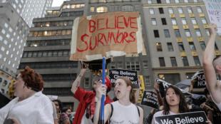 Manifestation contre la nomination du juge Brett Kavanaugh à la Cour suprême des Etats-Unis, le 4 octobre 2018 à New-York.