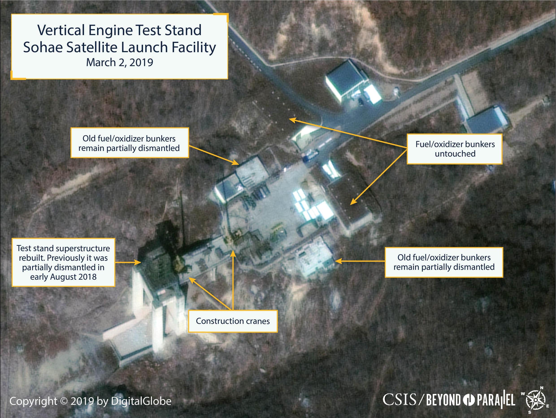 Des images satellites montrent le site de lancement de Sohae, en Corée du Nord, le 2 mars 2019.