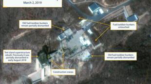 Ảnh chụp từ vệ tinh bãi phóng tên lửa Sohae của Bắc Triều Tiên, tại Tongchang-ri, ngày 02/03/2019.