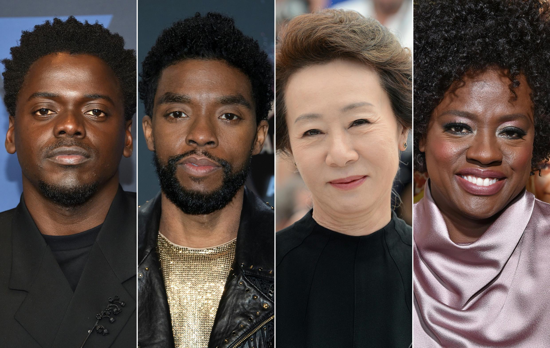(De izq. a der.) El actor británico Daniel Kaluuya, el fallecido Chadwick Boseman, la surcoreana Youn Yuh-jung y Viola Davis figuran entre los favoritos para ganar los Oscar, lo que refleja  una mayor diversidad en las candidaturas de 2021.