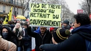 Manifestation à Paris pendant le 36e jour consécutif de grève contre le plan de réforme des retraites du gouvernement, le 9 janvier 2020.