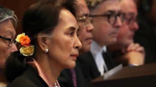 緬甸國務資政昂山素姬在海牙國際法院出庭。