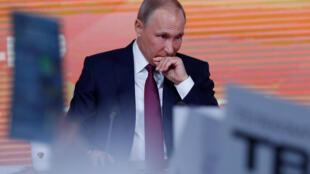 Владимир Путин на ежегодной пресс-конференции в Москве 14 декабря 2017 года