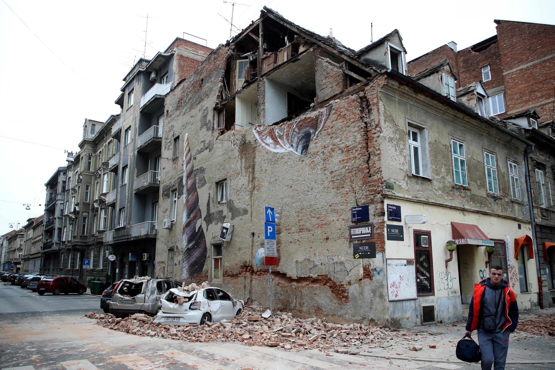 Un séisme a causé d'importants dégâts matériels à Zagreb en Croatie, le 22 mars 2020.