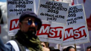 Manifestación contra la aprobación del Presupuesto 2019 delante del Congreso, este 14 de noviembre de 2018 en Buenos Aires.