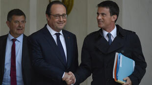 François Hollande with Prime Minister  Premier Manuel Valls after the meeting, May 10, in which they decided to push the Labour Reform bill through