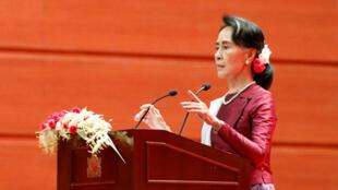 Discours de la conseillère d'Etat birmane Aung San Suu Kyi sur la crise des Rohingyas dans l'Etat de l'Arakane, le 19 septembre 2017 à Naypyidaw.
