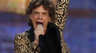 O vocalista dos Rolling Stones, Mick Jagger, em um dos show da turnê que comemora os 50 anos dos Rolling Stones, no Hyde Park, em Londres, no dia 6 de julho.