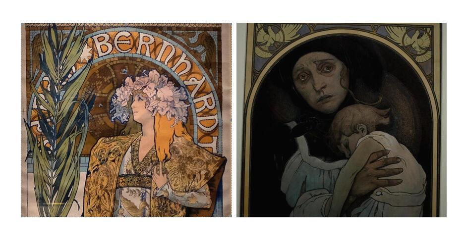 Images prises dans l'exposition « Alphonse Mucha » au musée du Luxembourg, Paris. « Gismonda » (détail), 1894, affiche, lithographie en couleur. Et « Russia Restituenda » (La Russie doit se redresser) (Détail), 1922.