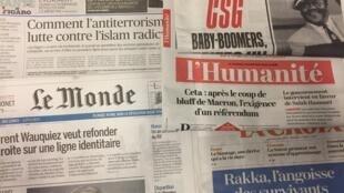 Primeiras páginas dos jornais franceses 26/10/2017