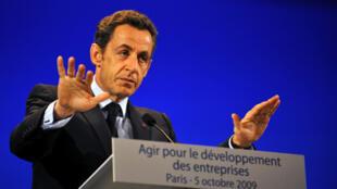 Le président français, Nicolas Sarkozy s'adressait aux patrons des PME, au Palais des Congrès à Paris, le 5 octobre 2009.