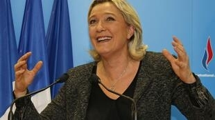 A jubilant Marine Le Pen, leader of France's Front National