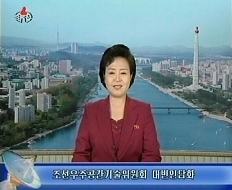 Televisão estatal norte-coreano anuncia o lançamento do satélite.