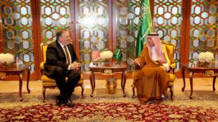 Le secrétaire d'Etat américain Mike Pompeo et son homologue saoudien Adel al-Jubeir, le 28 avril 2018 à Riyad.