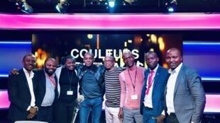 Claudy Siar et ses invités, les présidents des clubs RFI et Eric Amiens, le mercredi 20 mars 2019.