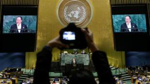 El jefe de la diplomacia de Corea del Norte, Ri Yong-ho, habla frente a la Asamblea General de la ONU en Nueva York, EEUU, el 23 de septiembre de 2017.