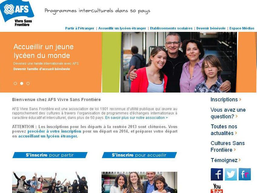 L'association AFS vivre sans frontière permet à des lycéens étrangers de passer une année scolaire en France. (Photo: capture d'écran du site internet de l'association).