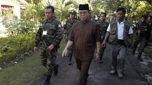 MILF leader Murad at the rebels' main camp in Camp Darapanan in the southern Philippines