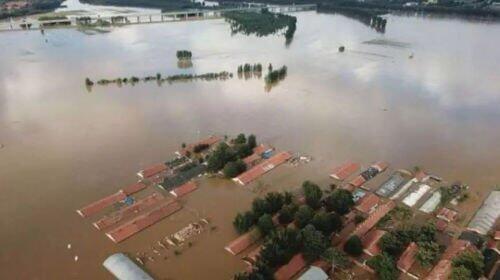 山東壽光因上游水庫泄洪導致彌河河堤潰壩,沿岸村莊相繼被淹。2018年8月。
